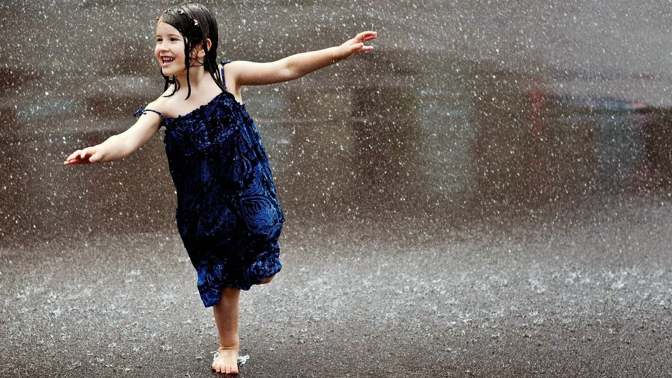 Baby girl desktop wallpaper rain
