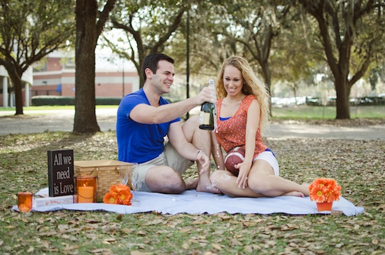 couple on a picnic during their engagement session