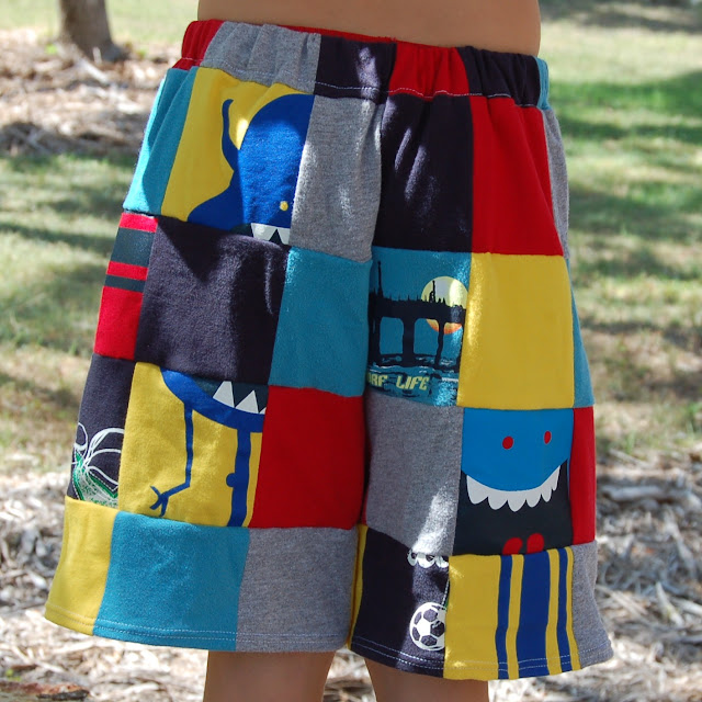 Upcycled T-shirt Patchwork Shorts