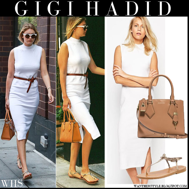 Gigi Hadid in white midi tank belted Asos dress with brown Michael Kors Casey bag what she wore july 13 summer style