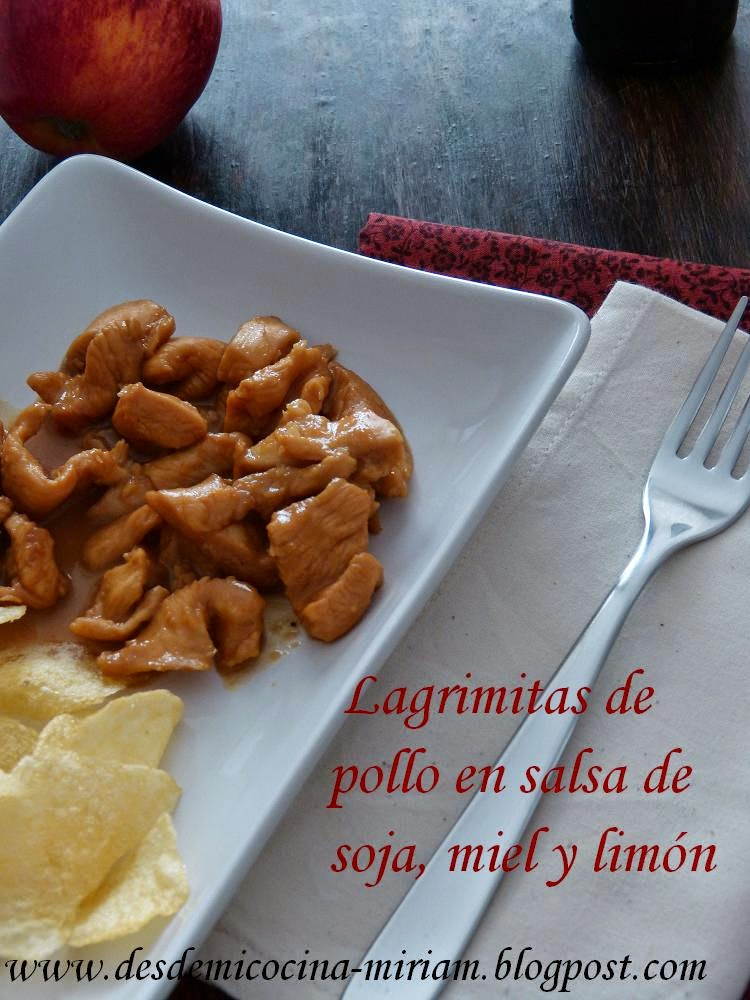 Lagrimitas de pollo en salsa de soja, miel y limon. Thermomix