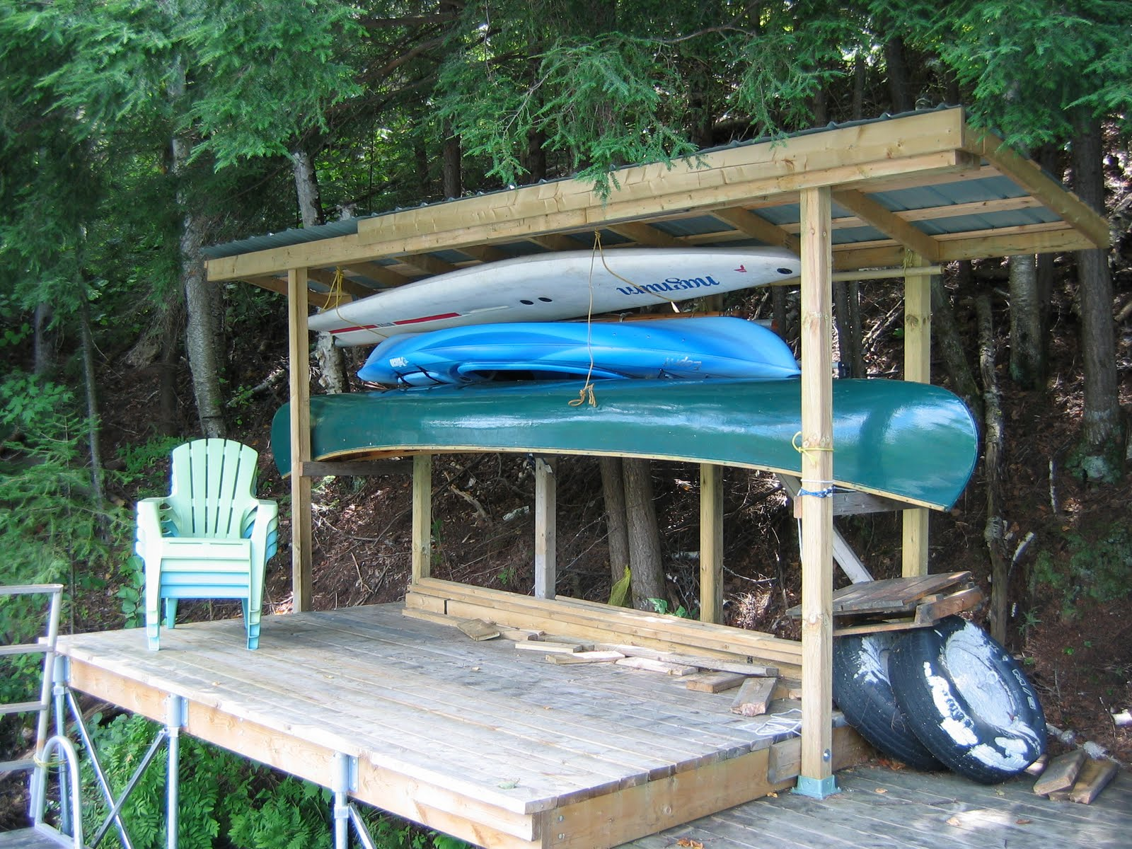 Cottage on the edge the diy cottage blog new lake toys for Boat storage shed plans