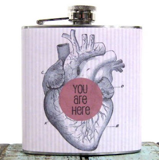 Ma Bicyclette: Buy Handmade | Whimsy and Ink Hip Flasks - You Are Here Heart Hip Flask