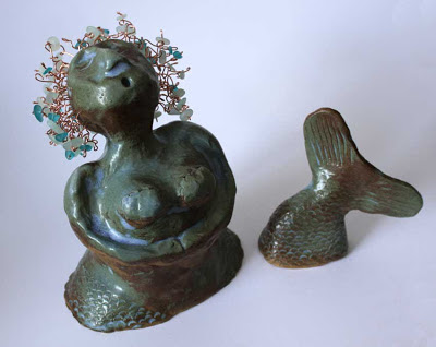 clay mermaid with copper hair and sea glass