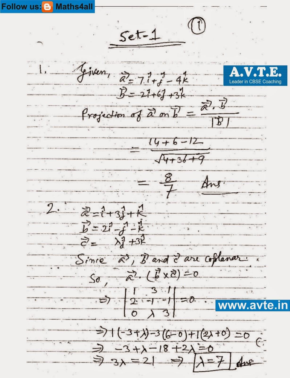 Maths4all: Class XII MATHEMATICS CBSE BOARD PAPER SET - 1 SOLUTIONS ...