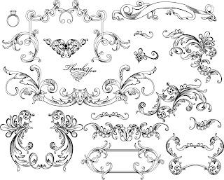 バロック様式のフレーム・ボーダー vintage baroque frames and decorative borders イラスト素材5
