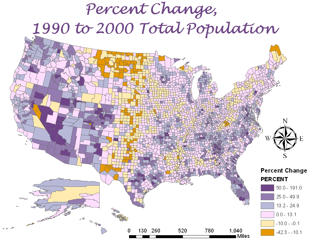 as the title indicates the above map is the percent change of the total united states of america population from 1990 to 2000 compared to the other maps