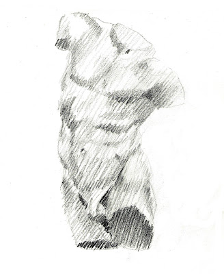 Dibujo de estatua clásica torso de Hermes. Ejercicio de dibujo explicados, estructuras, simplificaciones, por planos, claroscuro, rayado trazos. Explicación de objetivos. grados arte, bellas artes. Dibujo y texto de Juan Sánchez Sotelo para la academia de dibujo y pintura Artistas6 de Madrid. Clases y cursos para aprender a dibujar y pintar.