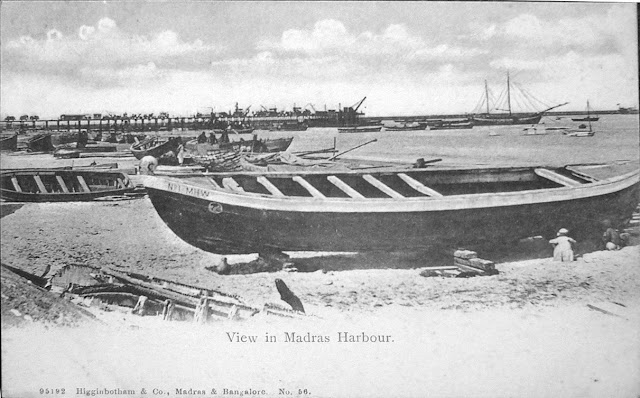 View-in-Madras-%2528Chennai%2529-Harbour---Vintage-Postcard