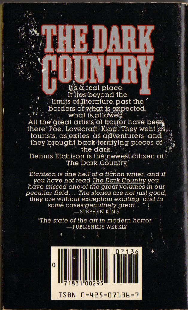 Too Much Horror Fiction The Dark Country By Dennis Etchison 1982