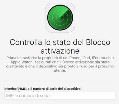 sicurezza iPhone; sito per controllo dello stato del blocco di attivazione