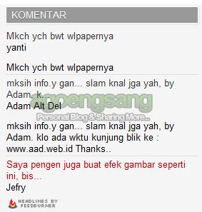 screenshot cara menambahkan widget komentar terbaru dengan feedburner - agoengsang