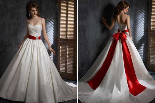 Wedding dresses with colored sash bridal evening for Dresses to wear to a christmas wedding