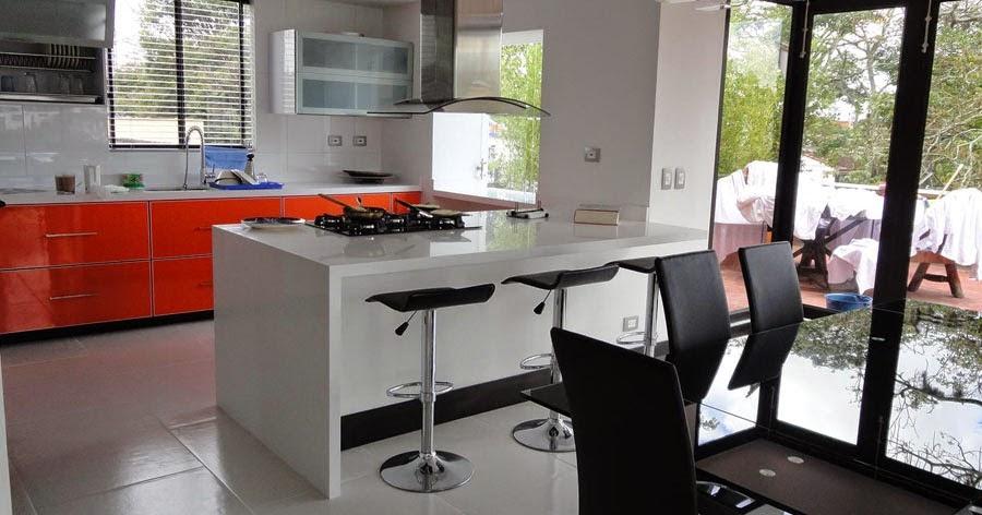 Cocina integral moderna naranja y blanca pereira cocinas - Cocinas naranjas y blancas ...