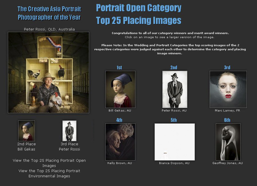 1st place in Open Portrait category and 2nd place Creative Asia