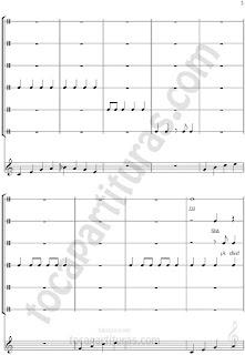 3 El Ritmo de la Noche Partitura de Flauta/ Guitarra y Percusión con Sonidos (Ronquidos, estornudos, silencio, panaderos, barrenderos y basureros)