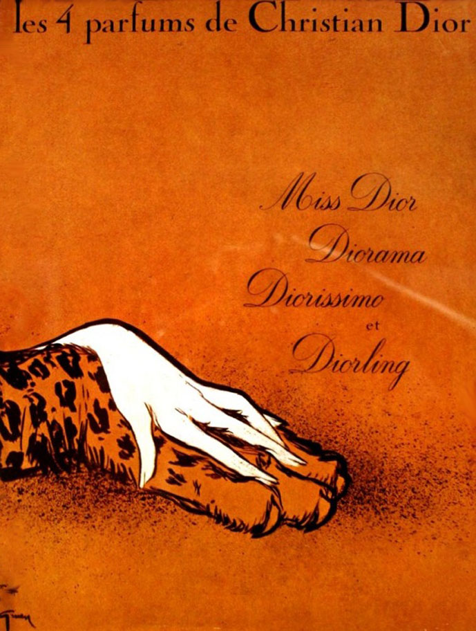 Christian Dior Dior Miss Dior, Diorama, Diorissimo & Diorling perfumes by Rene Gruau