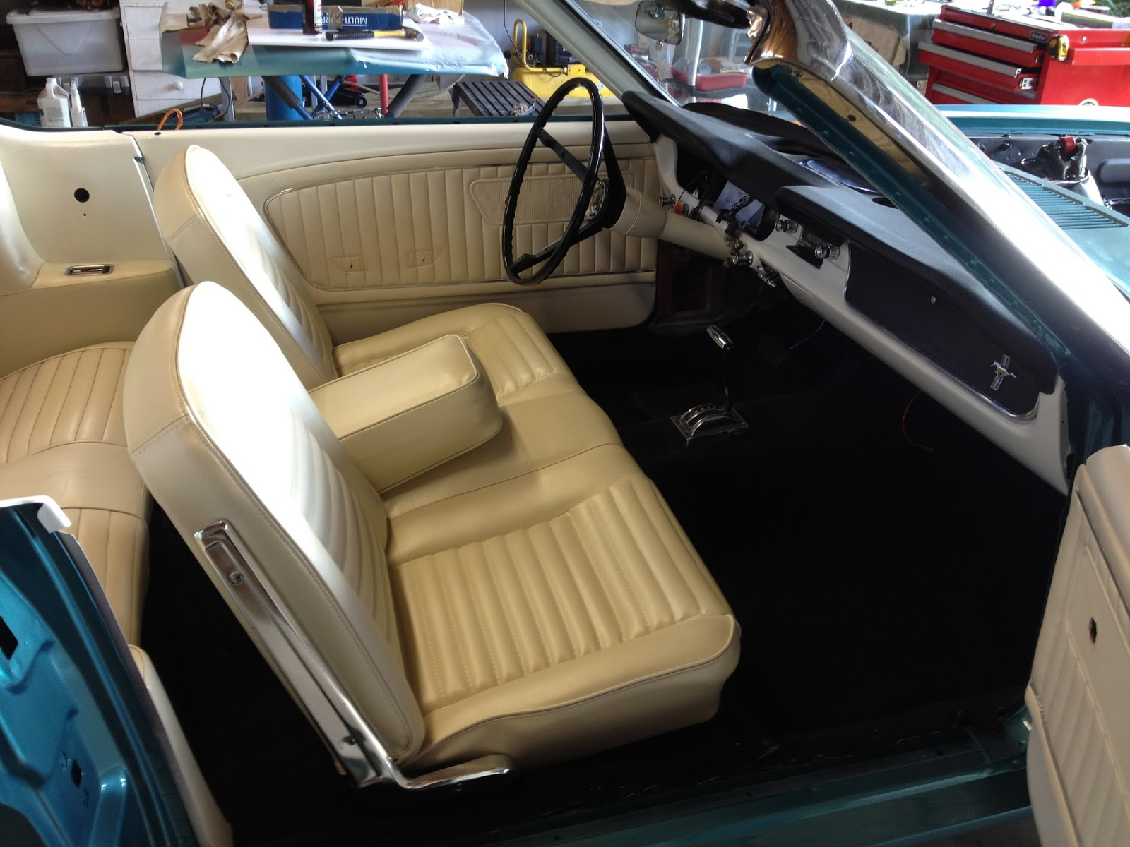 1965 convertible mustang restoration front bench seat fitted and sound proofing and carpets