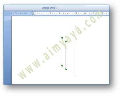 Gambar: contoh awal dari cara membuat garis vertikal sejajar di microsoft word 2007