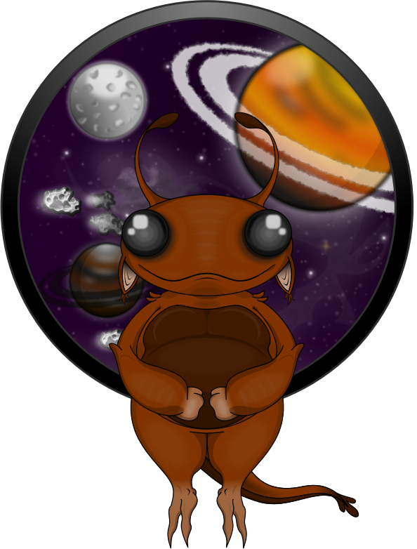 A bug-like alien with outer space and planets in the background.