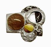 Broche-colgante en oro fino, plata y cobre MARTE: Dios de la guerra.