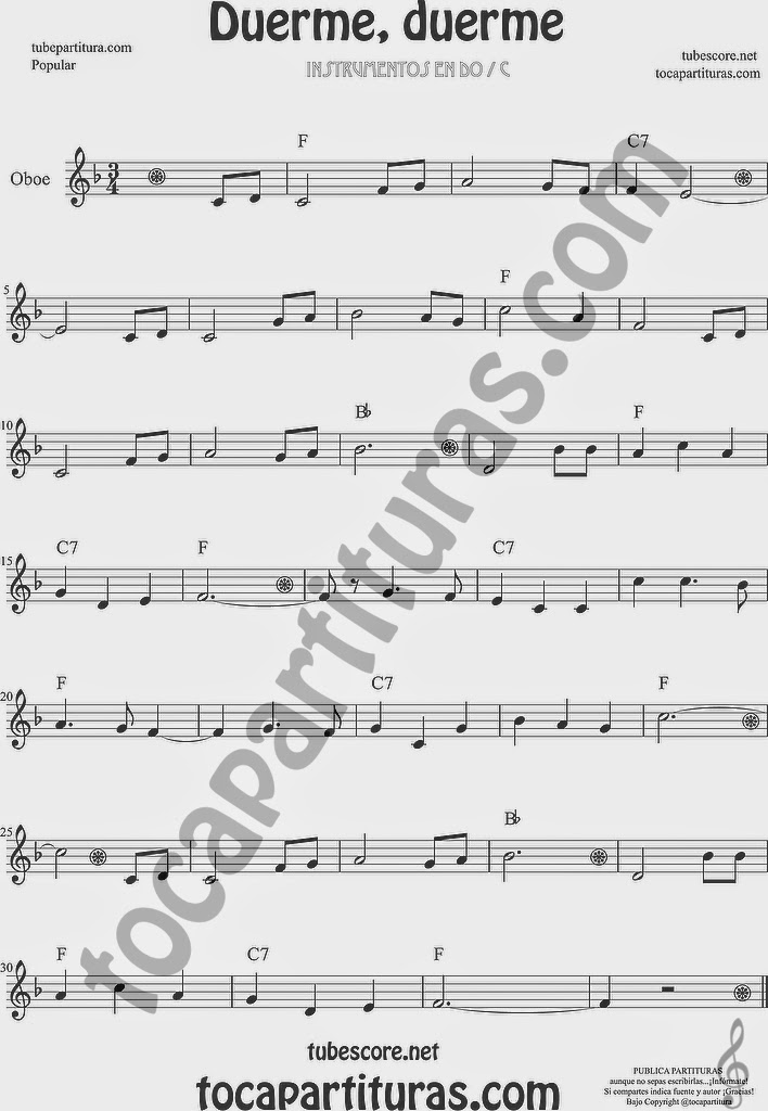 Duerme Duerme Partitura Popular de Oboe Sheet Music for Oboe Music Score