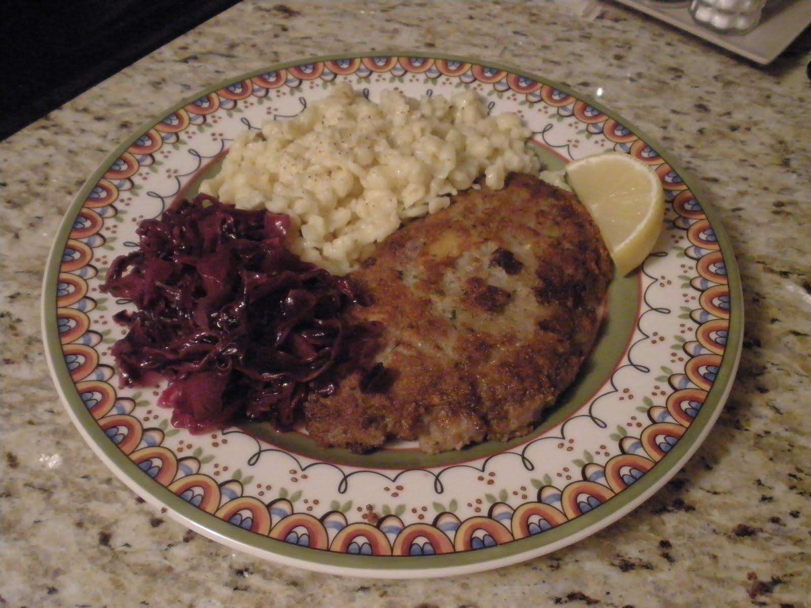 Venison Schnitzel, Spaetzle, & Cabbage