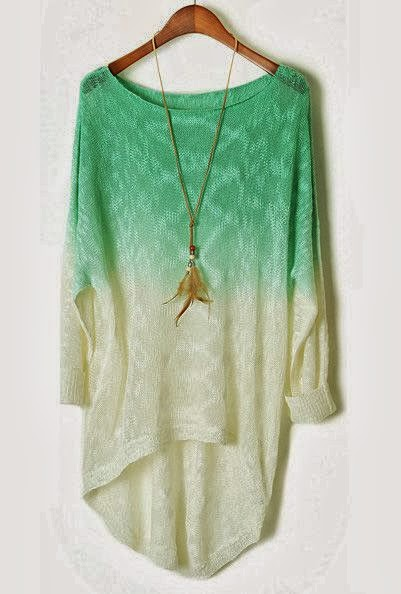 Turquoise Gradient Batwing Long Sleeve Sheer Sweater