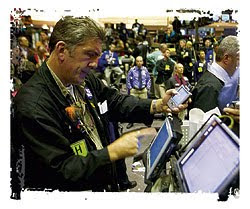 Commodity Trader on the Chicago Board of Trade Trading Floor