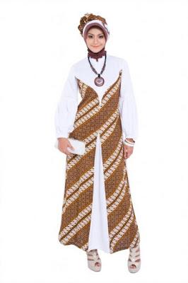 Model Baju Gamis Batik Kombinasi Brokat Murah