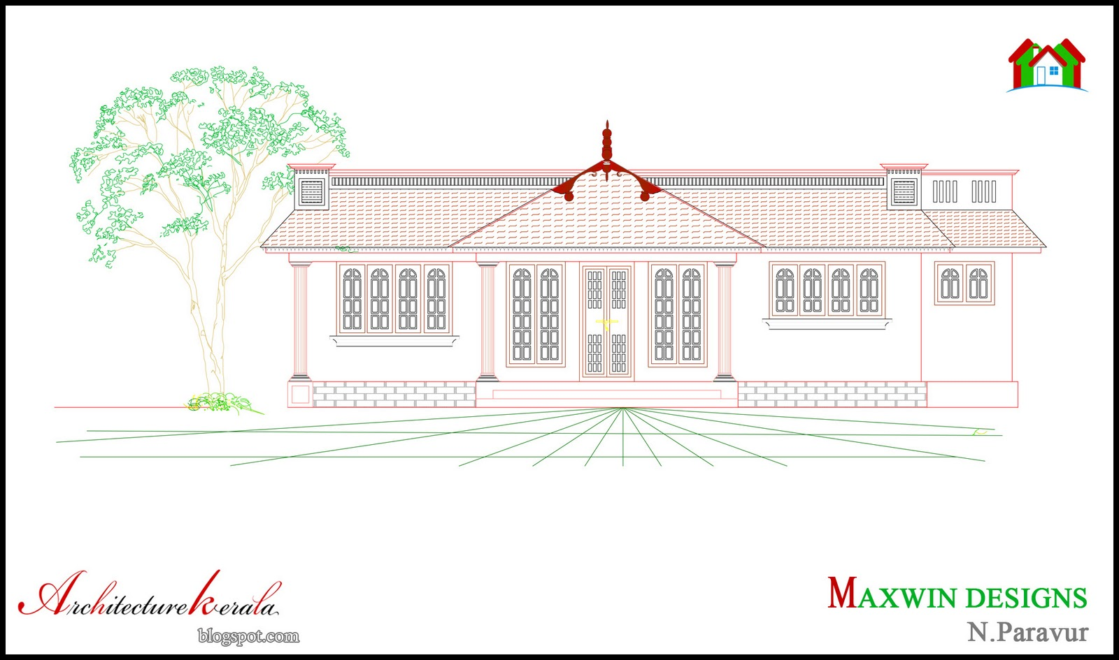 Architecture kerala 3 bhk single floor kerala house plan House plans with elevations and floor plans