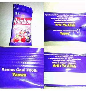 kamus gaul yaowo, pencelaan nama allah pada permen rainbow