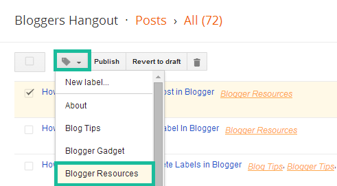 Remove the label of a Post in Blogger
