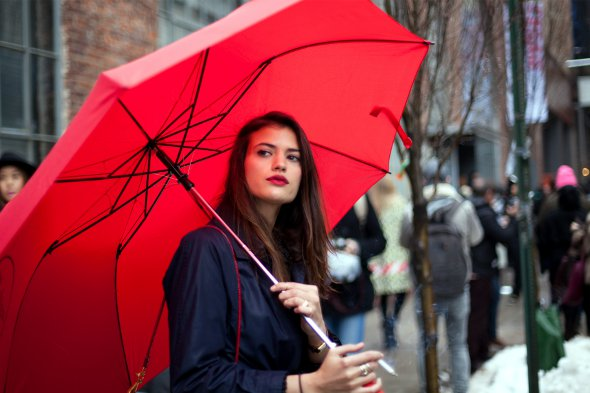 girl with red umbrella, new york street style, new york fashion week, february 2013