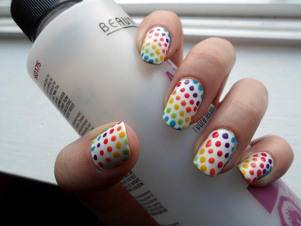 kerri's claws rainbow polka dot