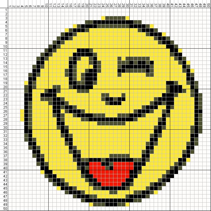 Gambar Pola Kristik Sederhana Untuk Pemula Wajah yang Tersenyum