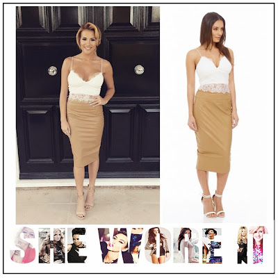 AX Paris, Camel, Celebrity Fashion, Cream, Crop Top, Faux Leather, Floral, Georgia Kousoulou, High Waisted, Lace, Midi Skirt, Pencil Skirt, Plunge Front, Sleeveless, The Only Way Is Essex, TOWIE, Trim Detail, White,