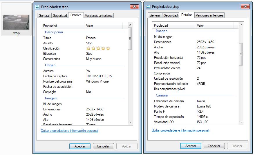 Detalles obtenidos con Windows 7