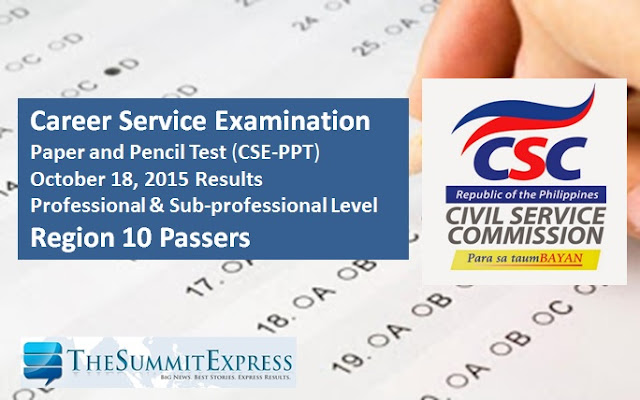 Civil Service Exam Results October 2015 List of Passers