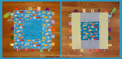 tag blankie for a little boy, front and back views