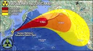New map showing all is not well at Fukushima nor the BP oil spill site.