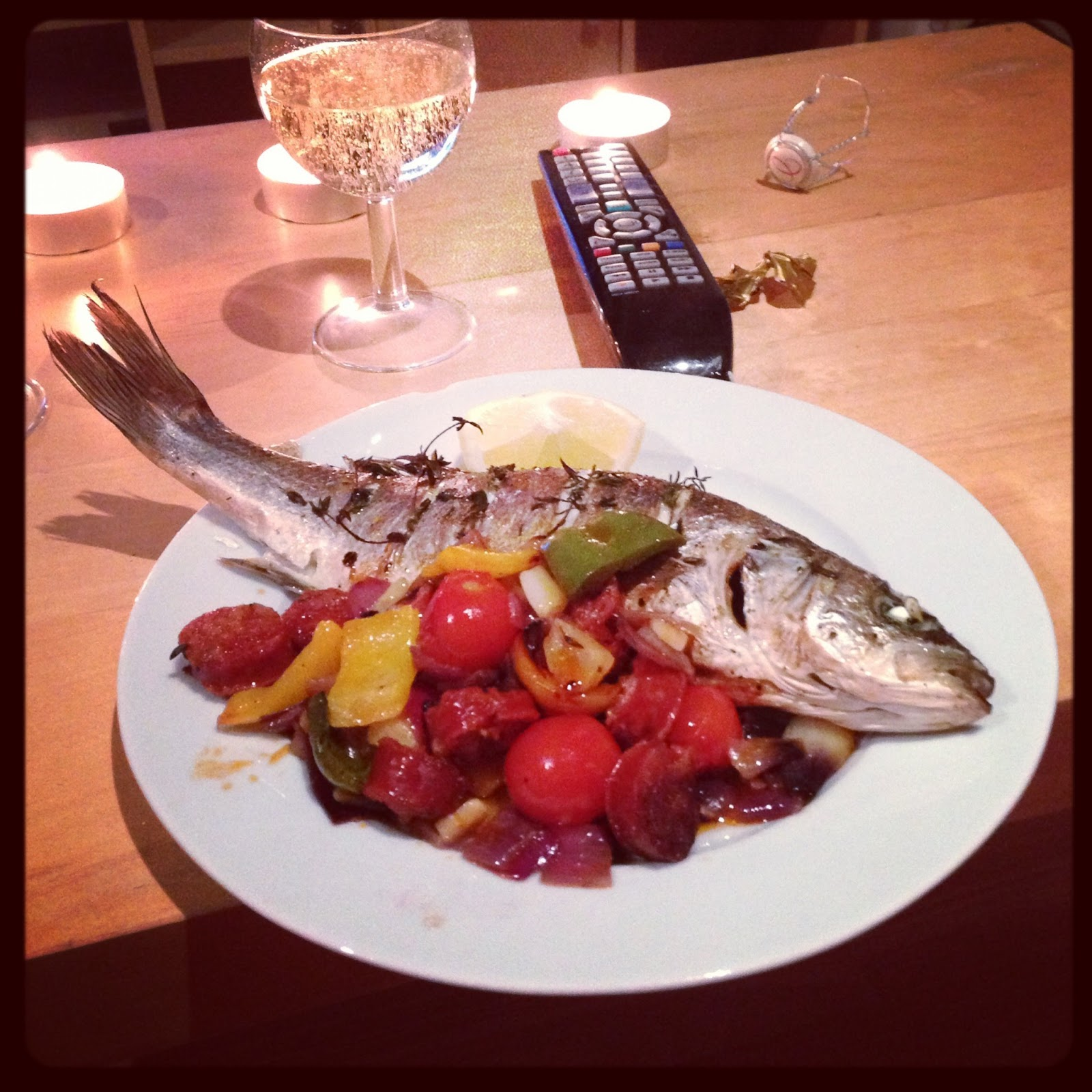 Yorkiestyles james martins roasted sea bass with chorizo red following james recipe i fried chopped red onion sliced chorizo yellow pepper instead of olives and chopped garlic for about 5 minutes then taking it forumfinder Choice Image