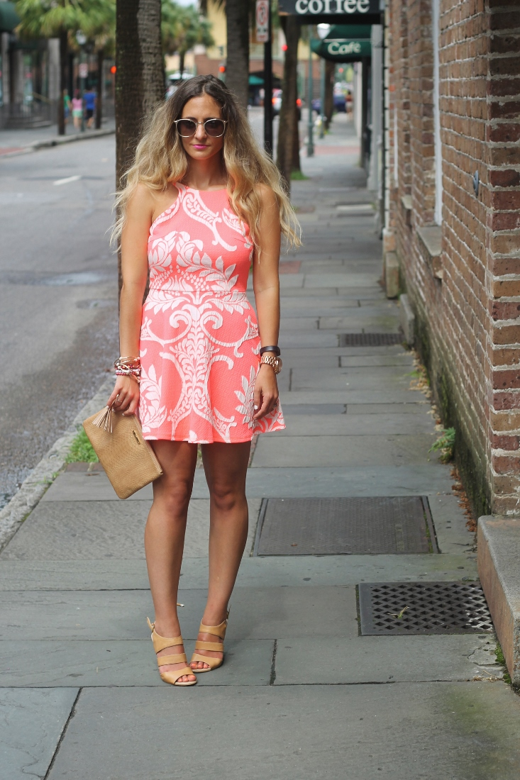 Orange and White Neon Dress