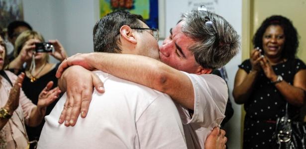 Mário Grego e Gledson Perrone protagonizaram o primeiro casamento entre pessoas do mesmo sexo em São Paulo no mês de agosto de 2012 (Foto: Brazil Photo Press)
