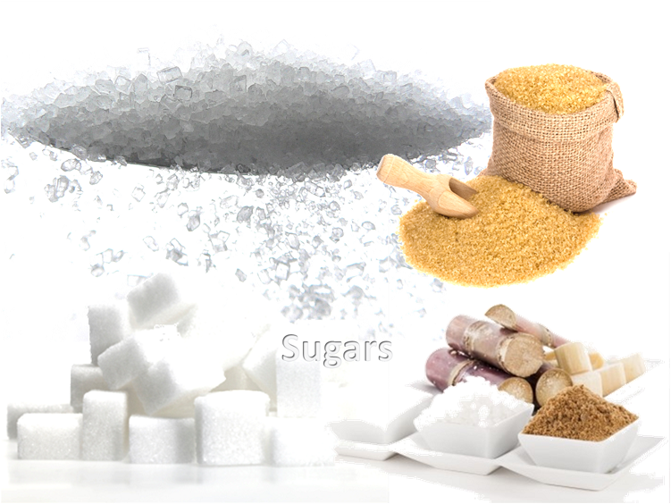 Simple Carbohydrate or Sugars: Sugarcane, white sugar, brown sugar, white sugars cubes