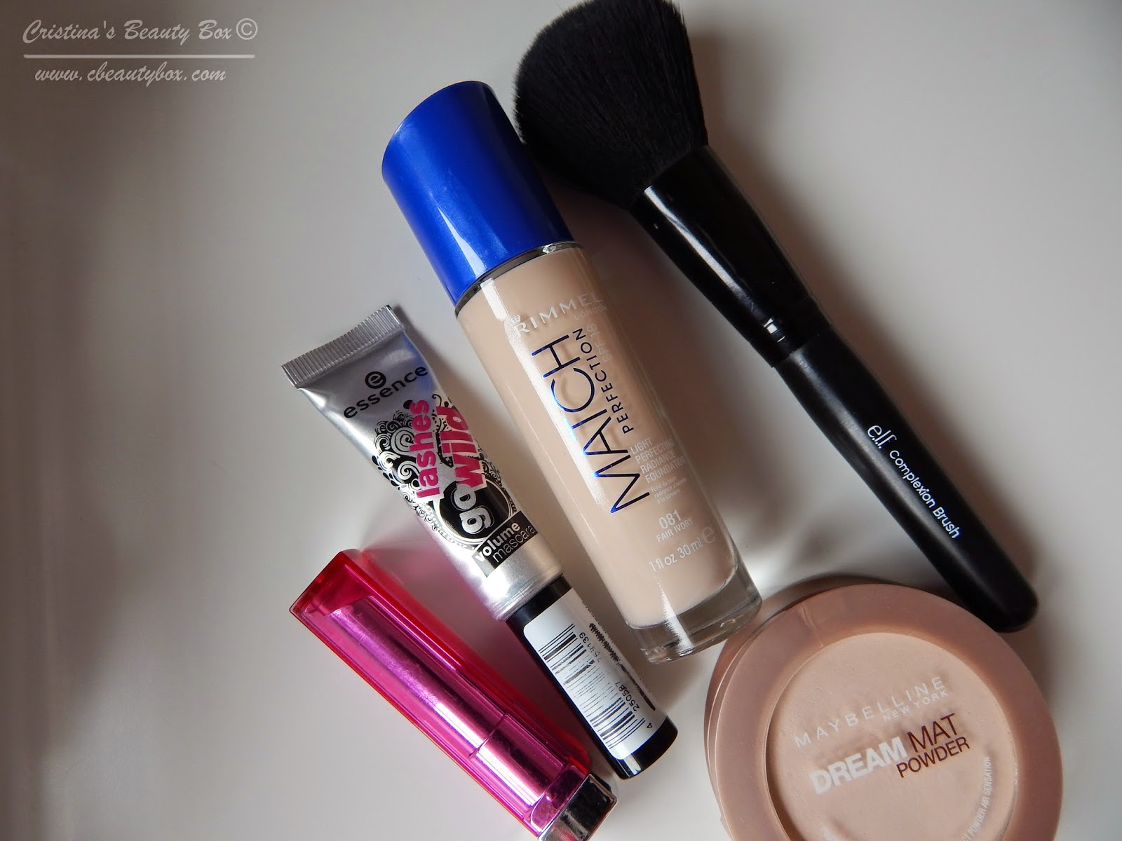 March 2014 Favorites Rimmel Match Perfection 081 Fair Ivory essence lashes go wild mascara maybelline dream matte powder elf complexion brush maybelline color wishper rose of attraction