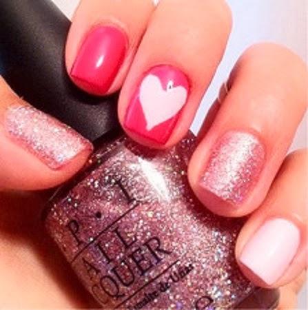 Diseños Romanticos para Uñas Pintadas, San Valentin