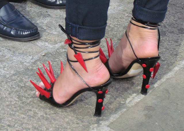Red and black spike extreme high heels at London Fashion Week