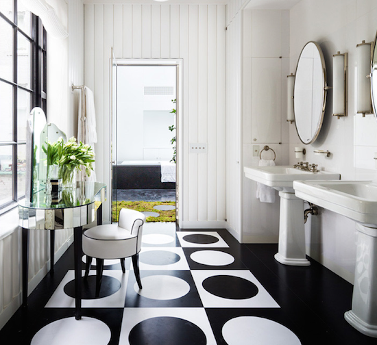 black and white luxury bathroom NYC Upper East Side