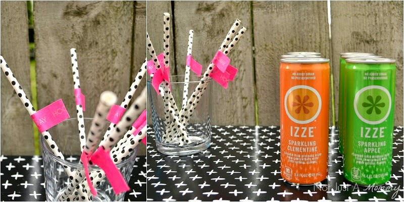 Headed For A Bright Future neon graduation party treat table paper straws and flags
